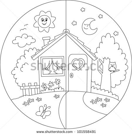 day and night coloring pages for kids daily routine topic pinterest learning. Black Bedroom Furniture Sets. Home Design Ideas