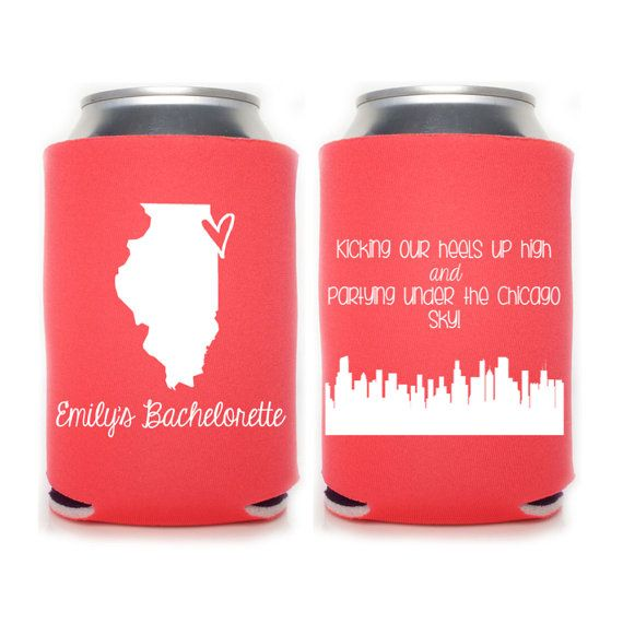 Chicago Bachelorette Personalized Can Coolers, Beer Insulators