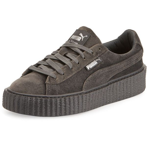 Fenty Puma By Rihanna Velvet Low-Top Creeper (€145) ❤ liked on Polyvore featuring shoes, sneakers, grey, creeper shoes, platform shoes, low top, gray shoes and rubber sole shoes
