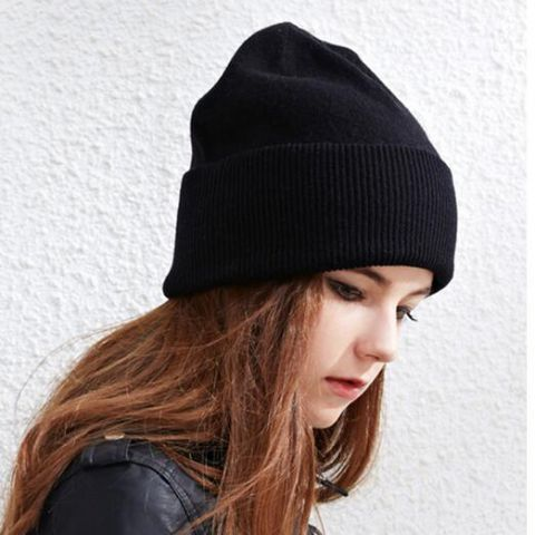 6d784ab84ad Plain black beanie hat for women warm winter flanging knit