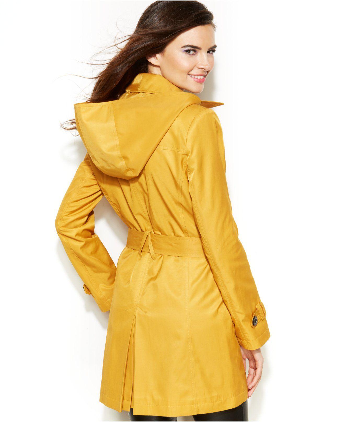 Dkny Hooded Trench Raincoat Coats Women Macy S Raincoat Coats For Women Coat [ 1616 x 1320 Pixel ]