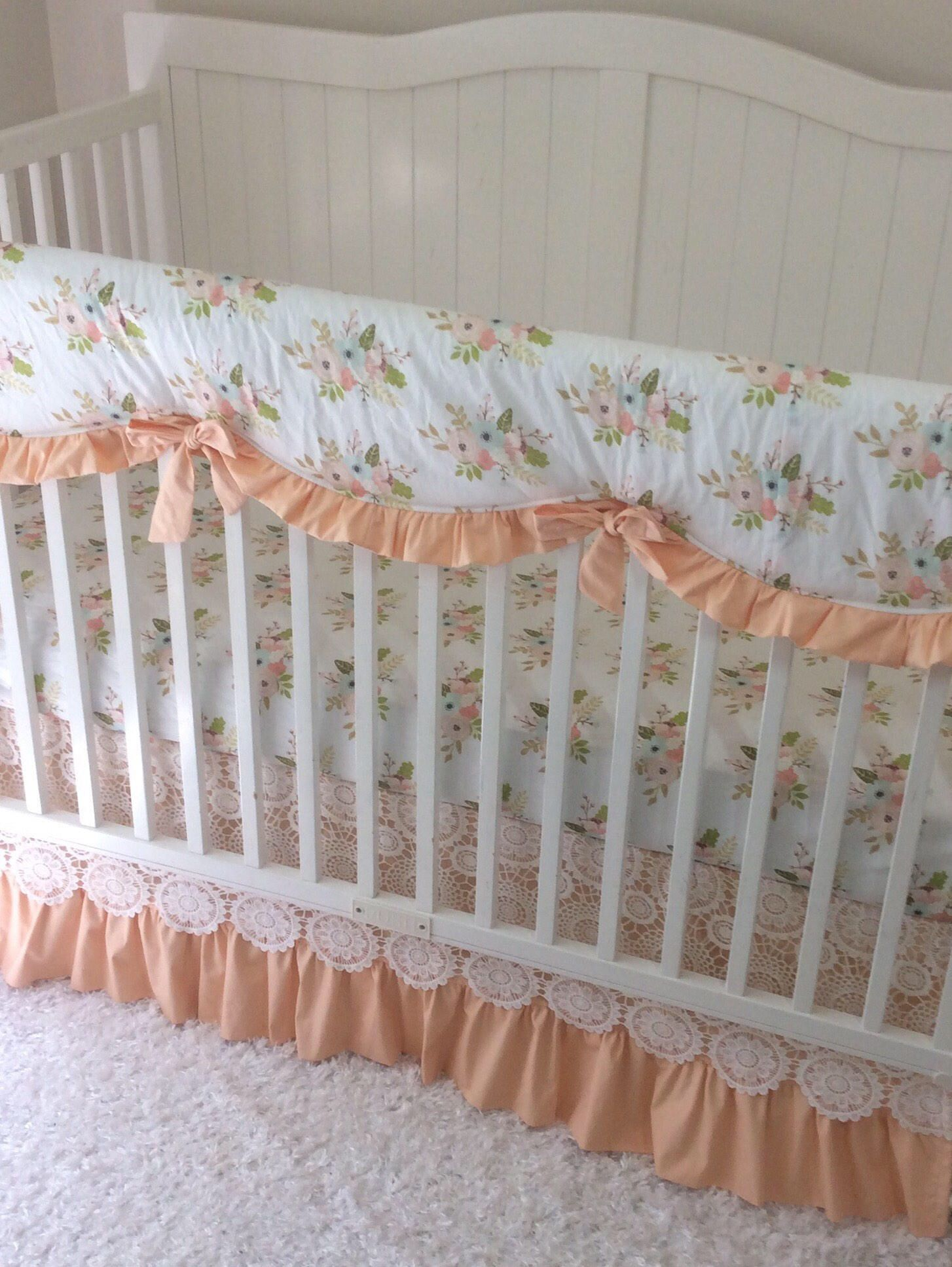 Baby Bedding Lace Crib Set In Peach Coral And Mint