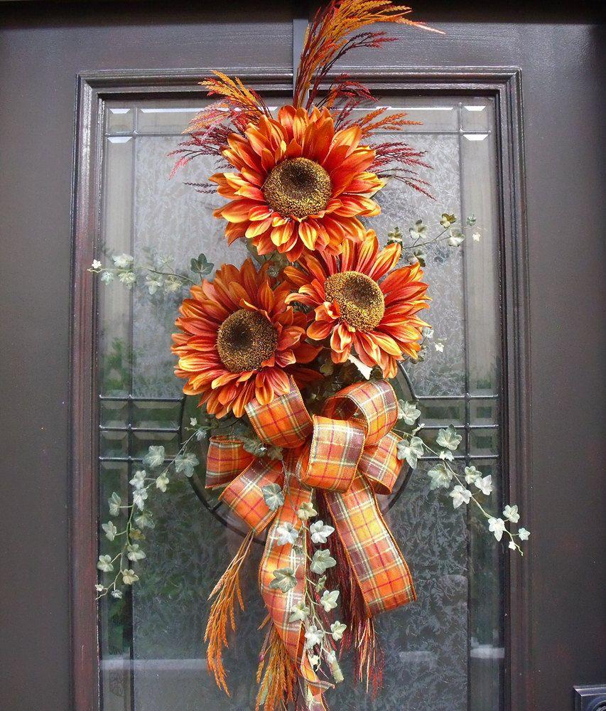 Autumn Door Decorations Orange Door : Fall wreath orange sunflower swag front door