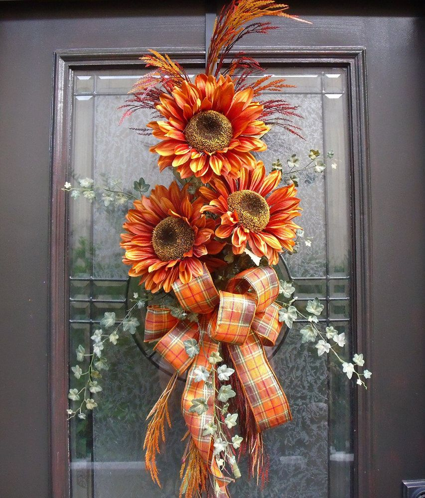 Great Fall Wreath Orange Sunflower Swag Front Door Wreath Idea