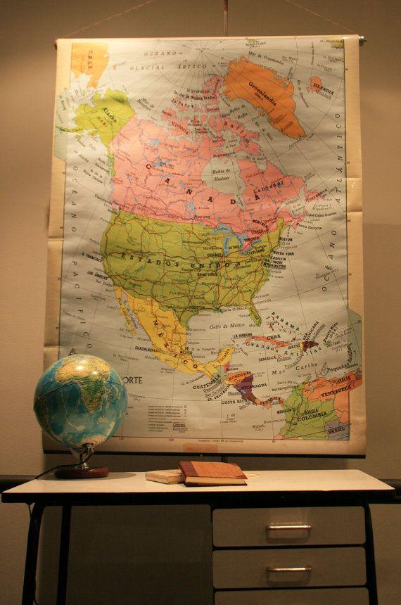 Ancienne Carte Scolaire Murale Des étas Unis Schoolmap