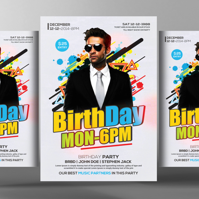 birthday flyer poster templates vectordecemberbirthday party