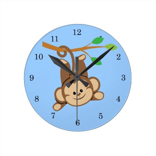 Boy Swinging Monkey Round Clock Zazzle Com Swinging Monkey Clock Boy Monkey