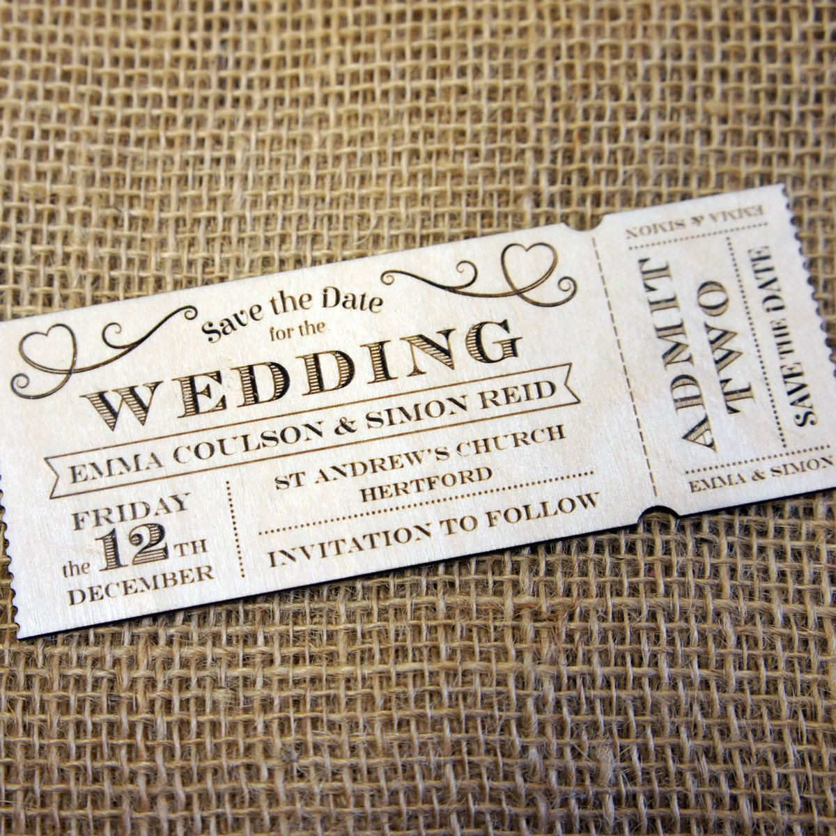 Wooden Save The Date Magnets Ticket