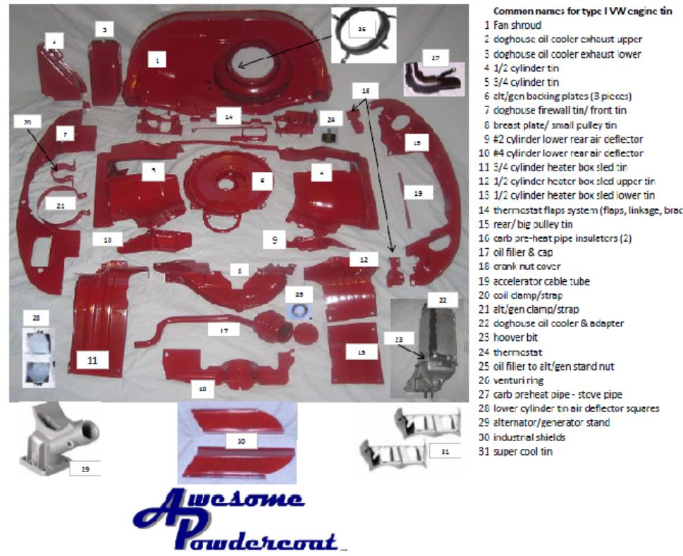 1973 vw engine tin diagram 1972 vw type 2 engine tin diagram what i believe is a complete listing of engine tin. | vw ...