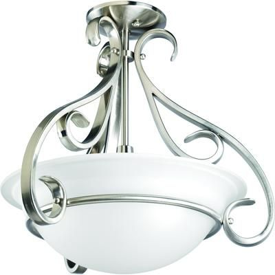 Progress Lighting Torino Collection Brushed Nickel 3 Light Semi Flushmount 785247156245