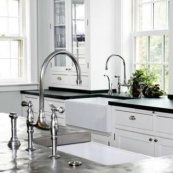 farmhouse sink with polished nickel gooseneck bridge faucet and kitchen island with prep sink and black countertop  kitchen with 2 sinks farmhouse sink with polished nickel gooseneck bridge faucet and      rh   pinterest com