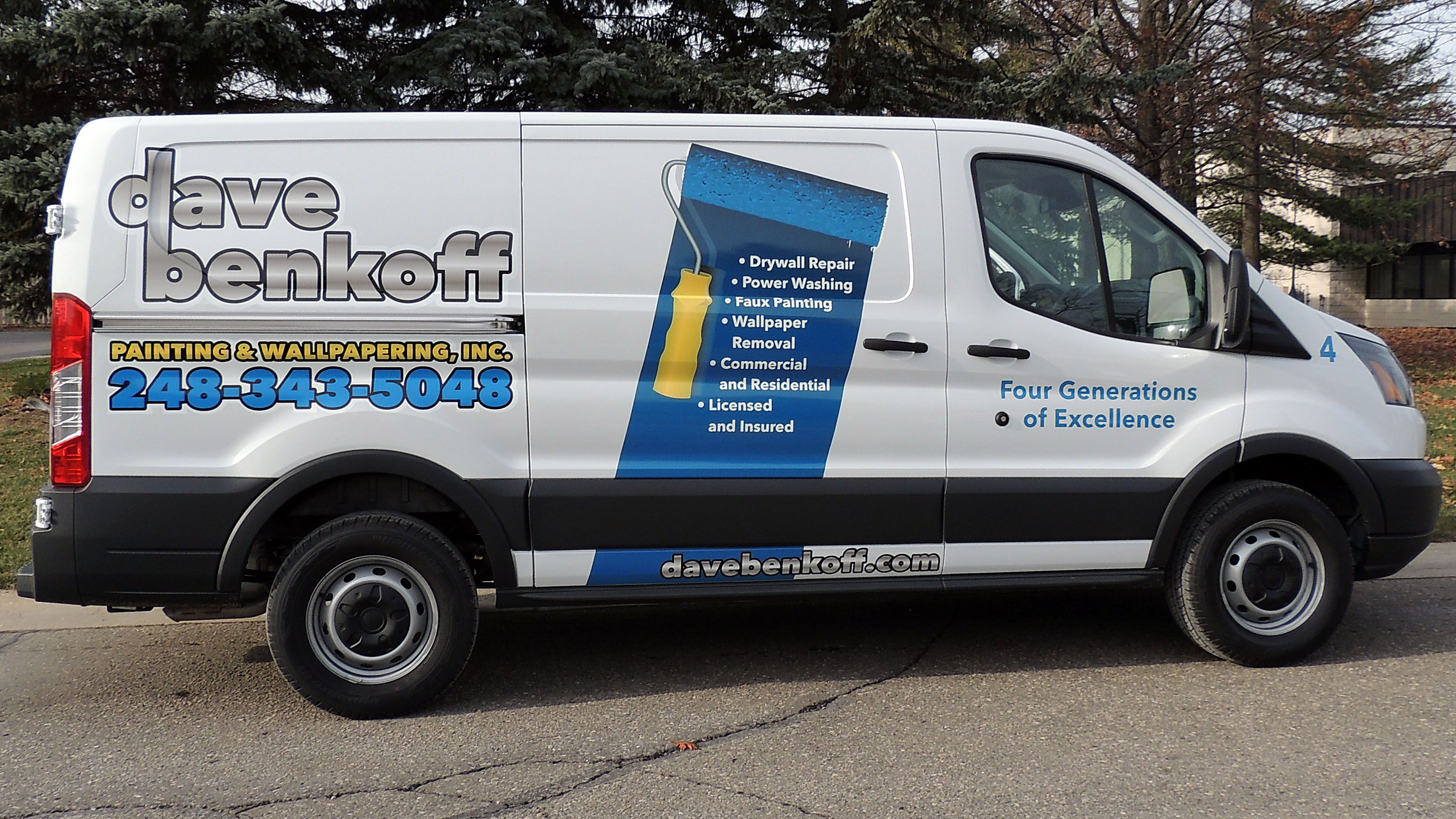 Partial vehicle wrap on this full size Transit for Dave ...