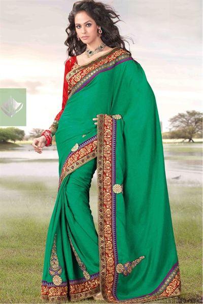 b975b3e44 Creative green synthetic silk saree