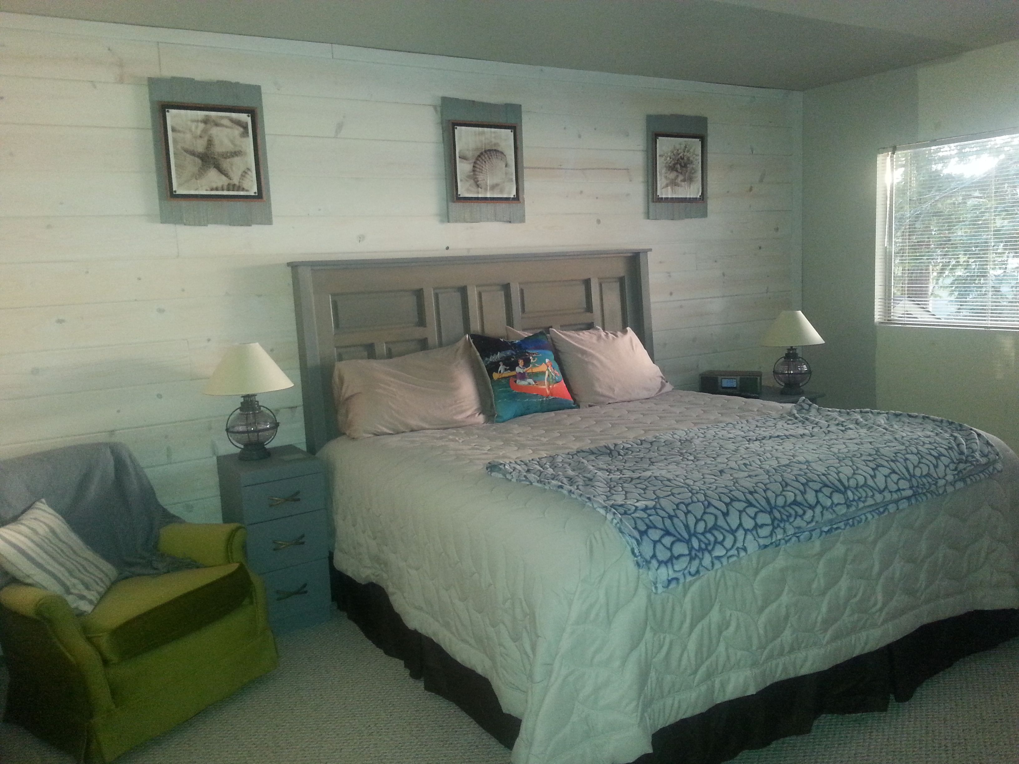 Master Bedroom at the Beach House: Whitewashed Shiplap ...