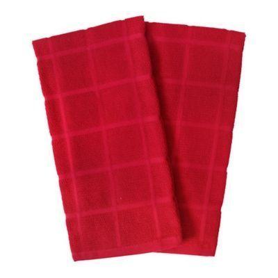 KitchenSmart® Colors 2-Pack Solid Windowpane Kitchen Towels  Kitchensmart Colors 2 Solid Windowpane Kitchen Towels In Red (Set Of 2)  #2Pack #colors #Kitchen #Kitchensmart #solid #Towels #Windowpane