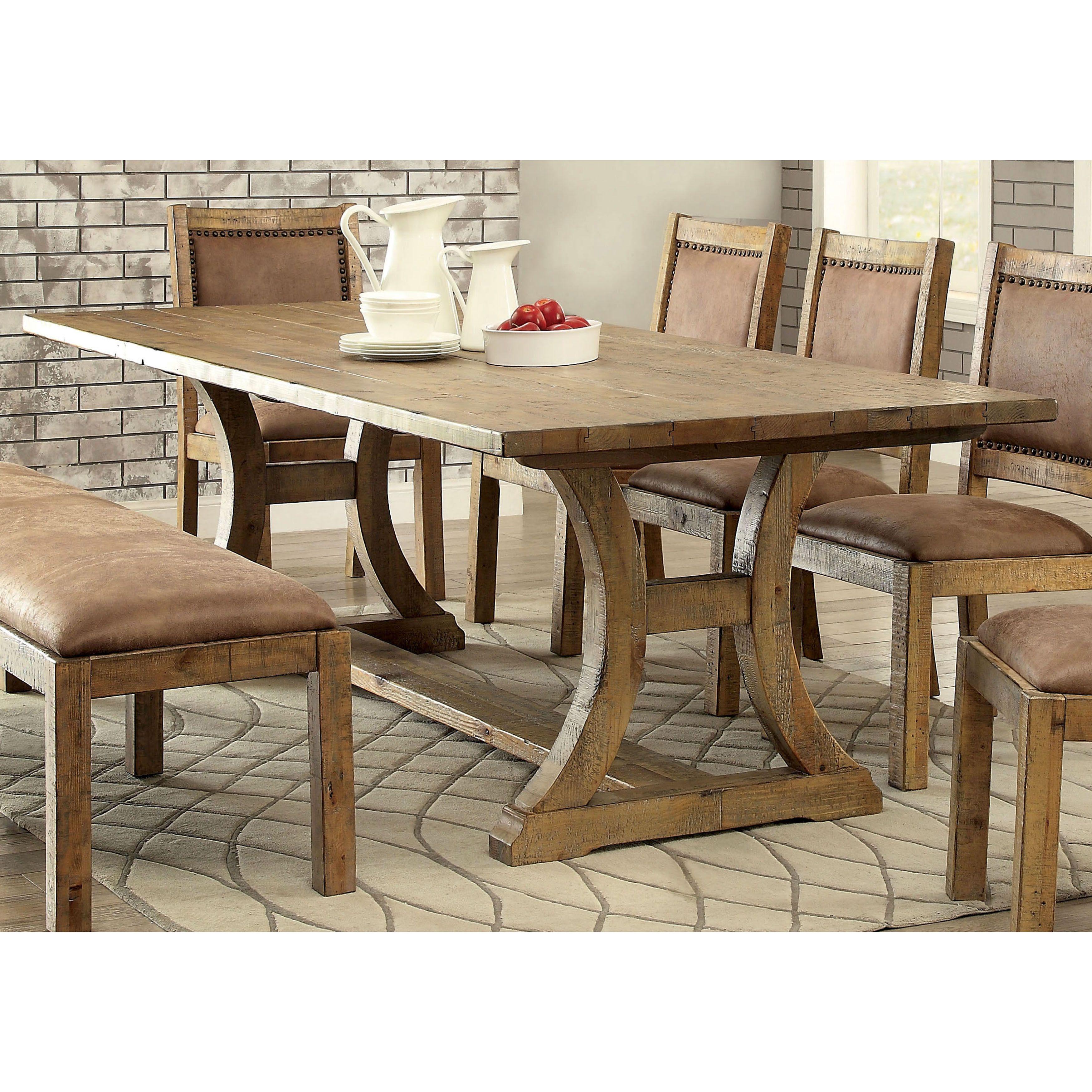 Furniture Of America Matthias Rustic Pine Dining Table 96 Inch Brown