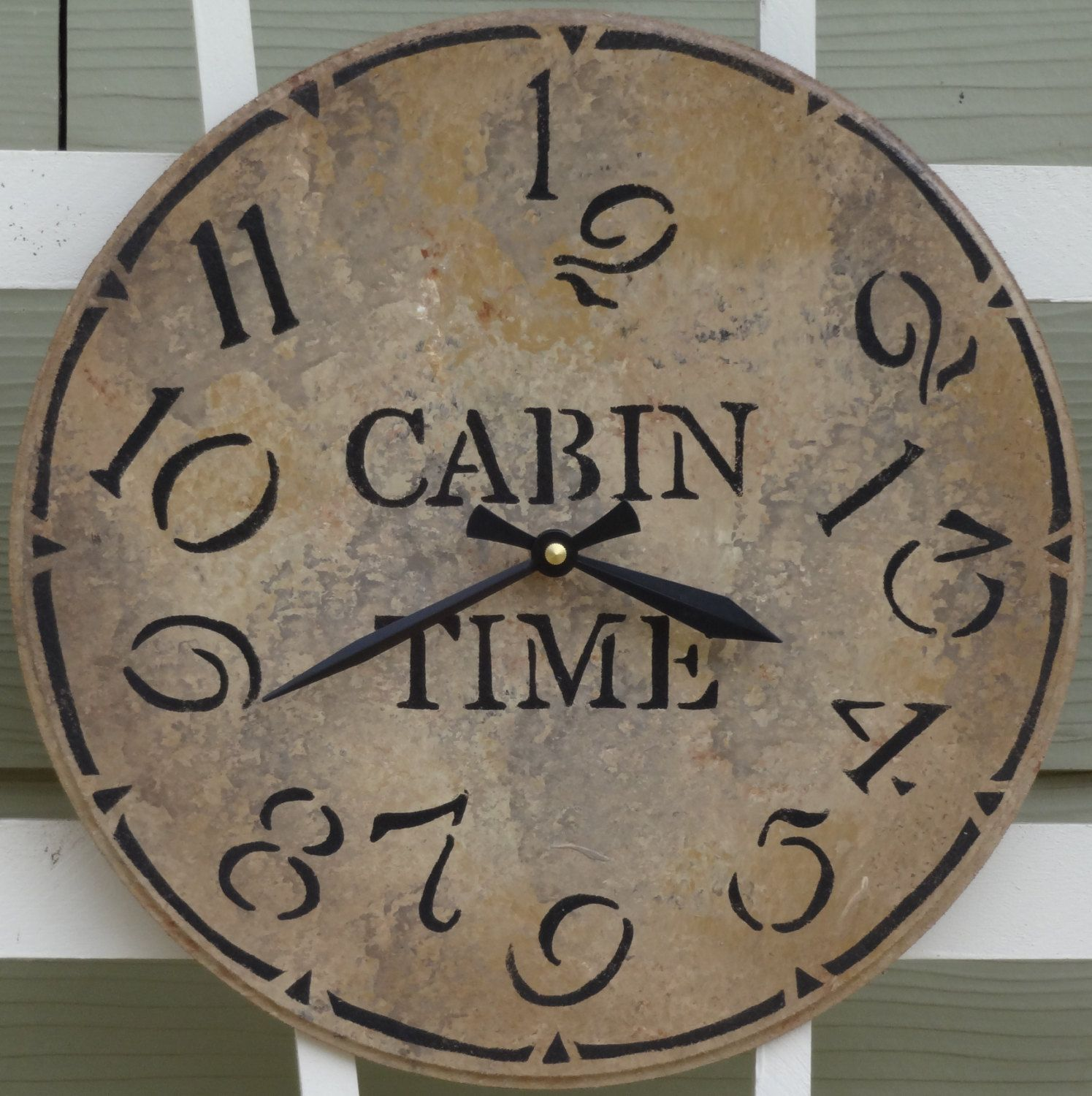 12 Inch CABIN TIME Wall Clock in Shades of by ClocksByHomestead, $29.00