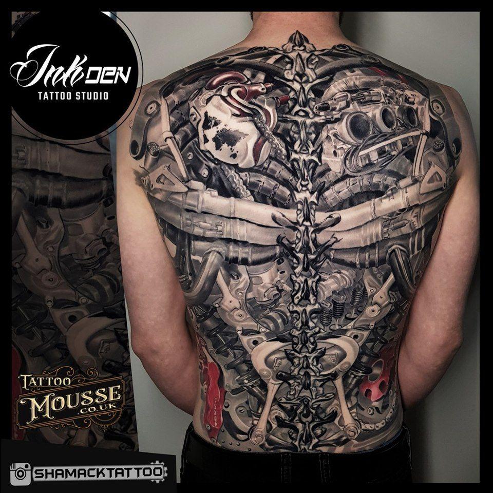 Biomechanical Back Piece Done By Shamack Biomechanical Tattoo Mechanic Tattoo Black And Grey Tattoos