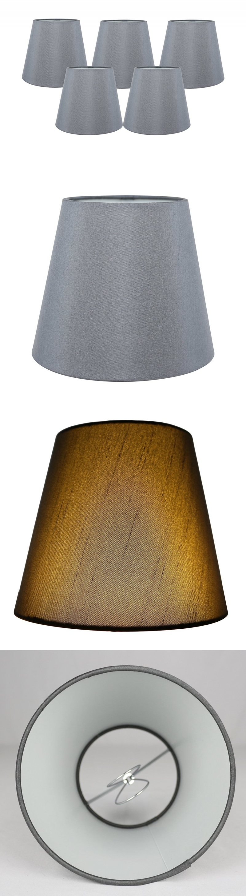 Lamp Shades Meriville Set 5 Gray Faux Silk Clip