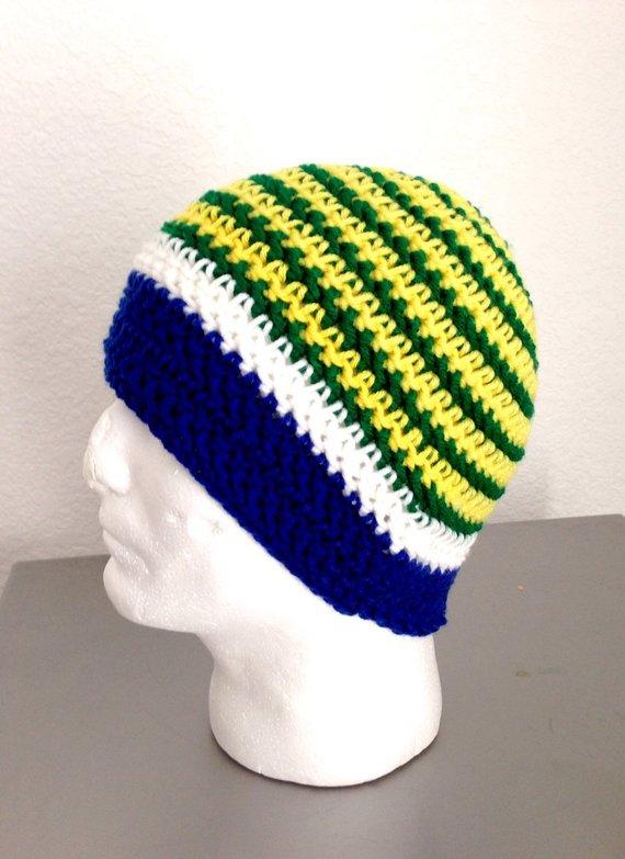 Crochet Brazil Beanie Hat  Soccer Hat Team Brazil Beanie  Free shipping 60504eeb0db