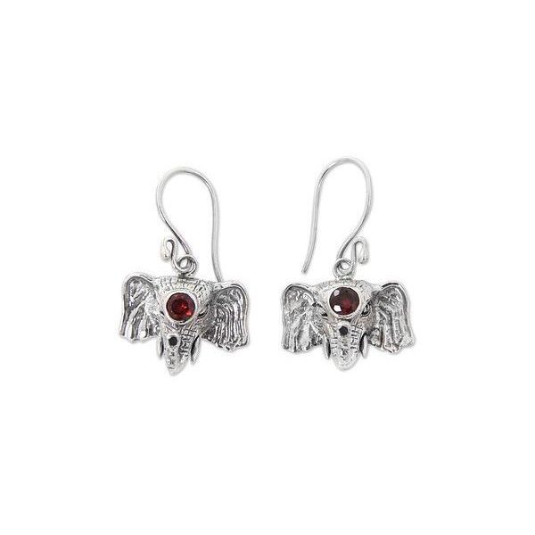 NOVICA Elephant Theme Hand Crafted Silver and Garnet Earrings (£26) ❤ liked on Polyvore featuring jewelry, earrings, dangle, garnet, garnet jewelry, elephant jewelry, silver elephant earrings, garnet dangle earrings and handcrafted silver earrings