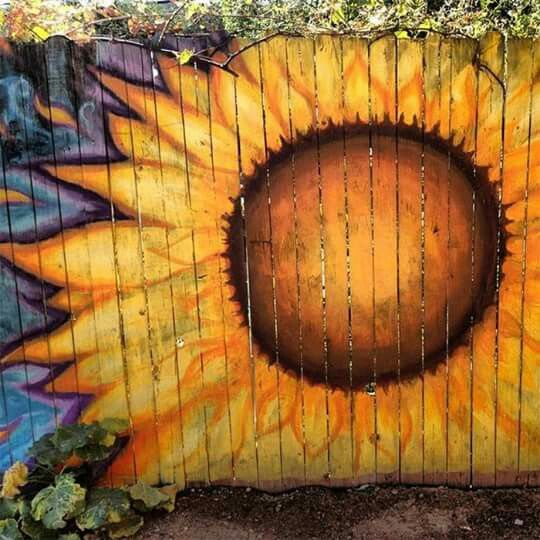 Panted Sunflower Painted On A Fence Wooden
