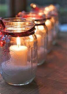 Candle with snow looks