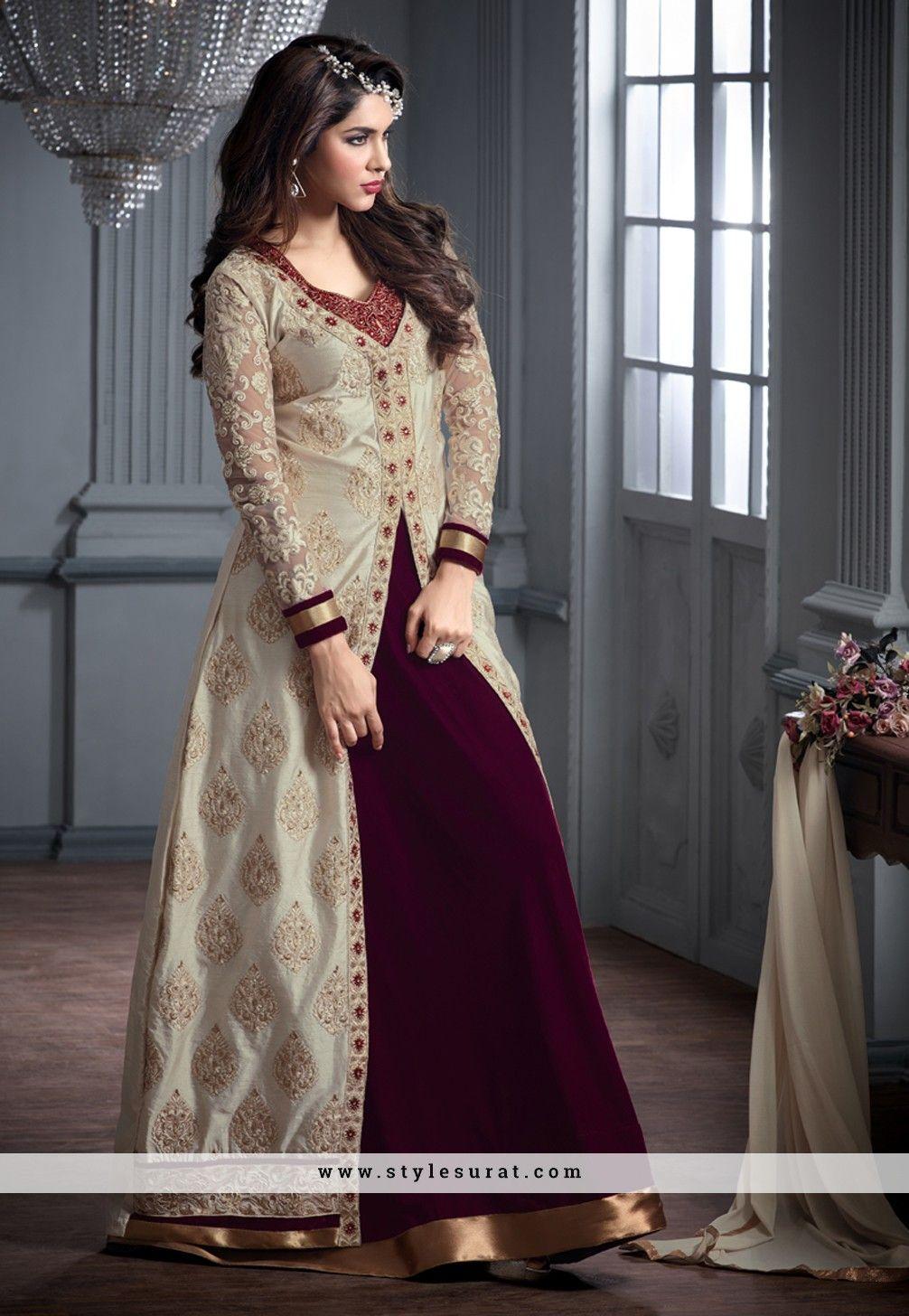 b4562ddad3 Jacket Style Velvet Designer Long Anarkali Salwar Suit | Salwar Suit ...