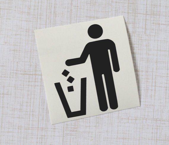 Trash Can Decal Vinyl Decal Garbage Symbol Sticker