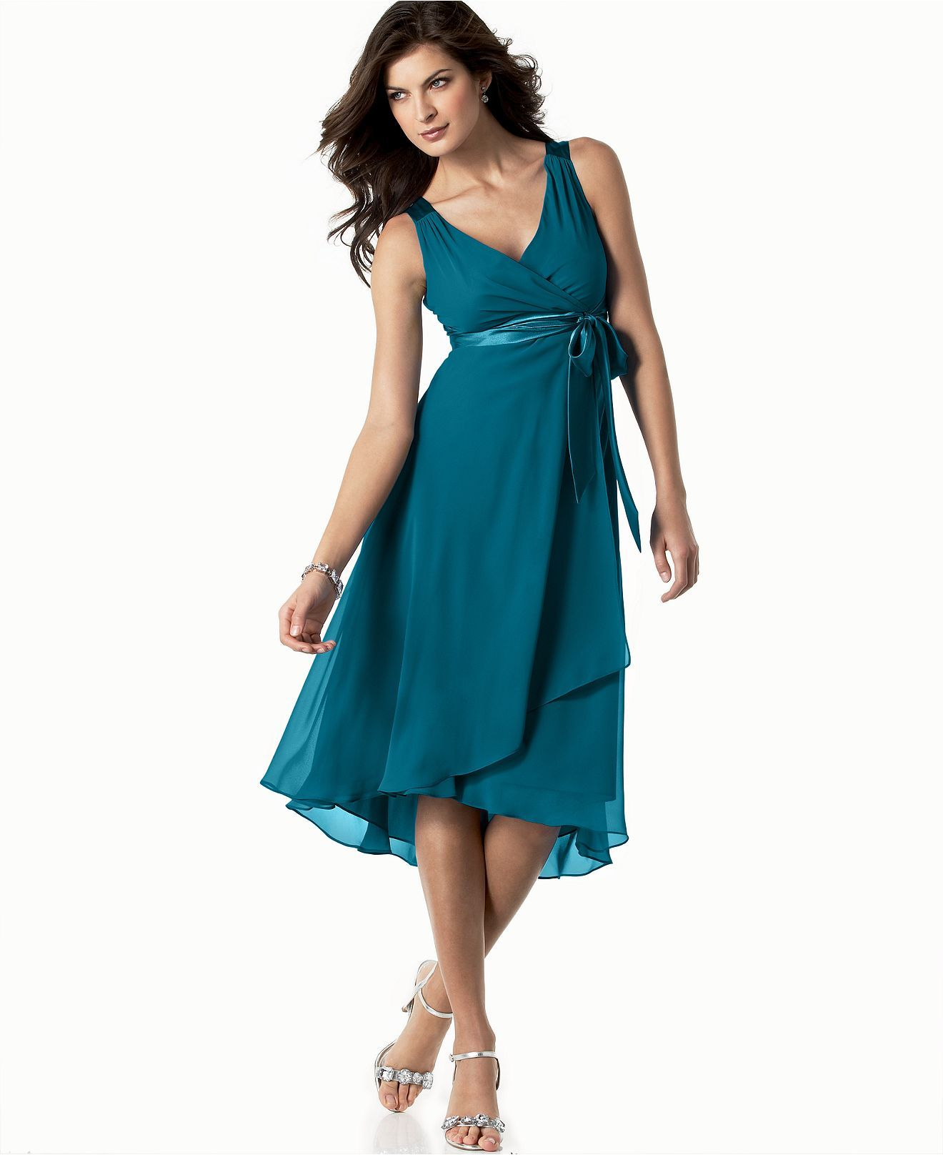 Evan Picone Dress, Sleeveless Satin Tie - Dresses - Women - Macys ...