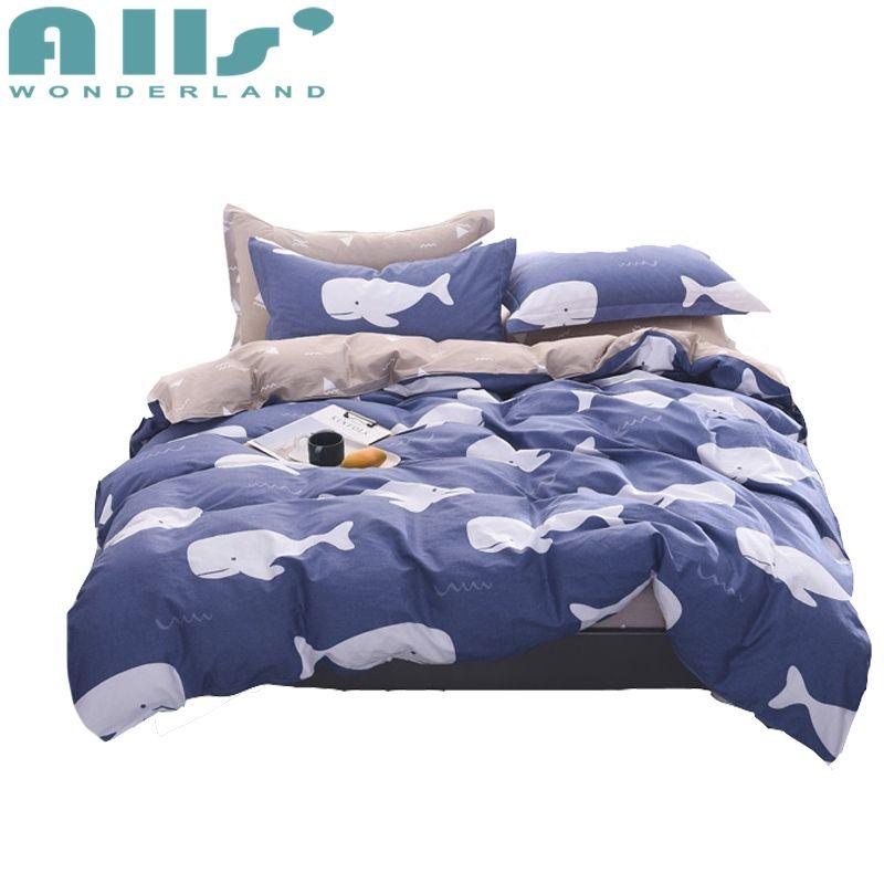 Blue Whale Duvet Cover Set Queen Size Bedding Sets For Adults Cartoon Duvet Cover Light Tan Bed Sheet Pillow Case 4pcs Bedding Sets Bed Sheets Duvet Cover Sets