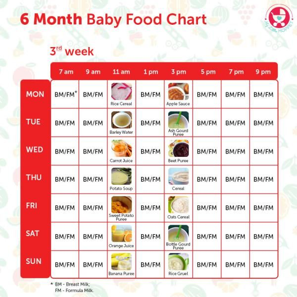 6 Months Food chart for Indian Babies Food charts and Foods - food charts