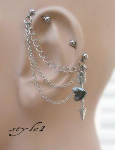 Arrow, Industrial Barbell, Industrial piercing, Jewelry, Industrial bar earring, Industrial piercing chain, Arrow And Hematite Heart (m2d)