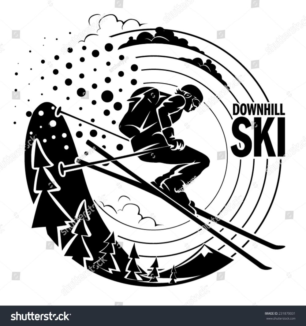 Freerider Skiing Downhill Along Fir Trees Stock Vector Royalty Free 231870031 In 2020 Skiing Ski Art Vinyl Sticker
