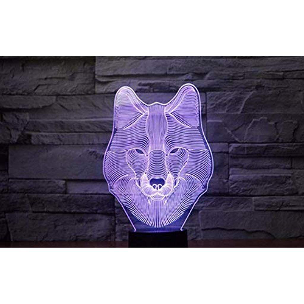 Xihahaha 3d Led Nachtlicht Wolf Gesicht Figur Aktion 7 Farben Touch Illusion Optische Lampe Tischlampe Modell Dekoration Beleuc House Design Design Dekoration