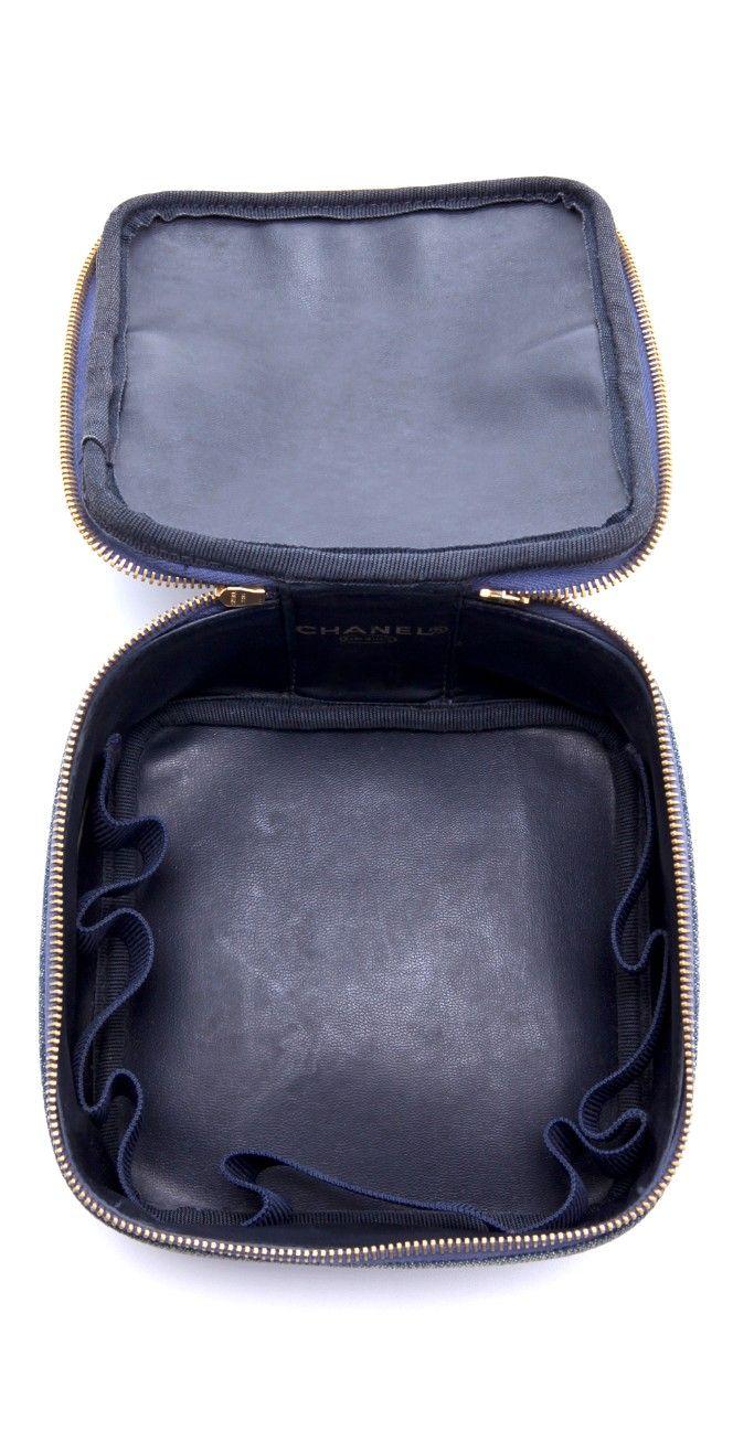 Vintage Chanel Denim Cosmetic Case Vintage chanel