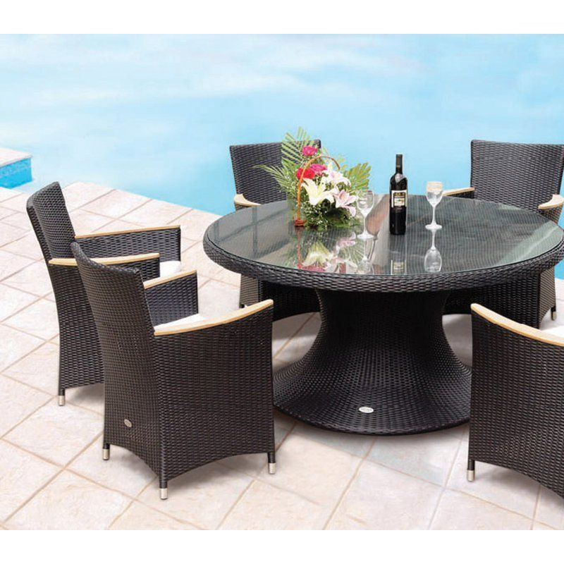 Outdoor Royal Teak Helena 60 In All Weather Wicker Round