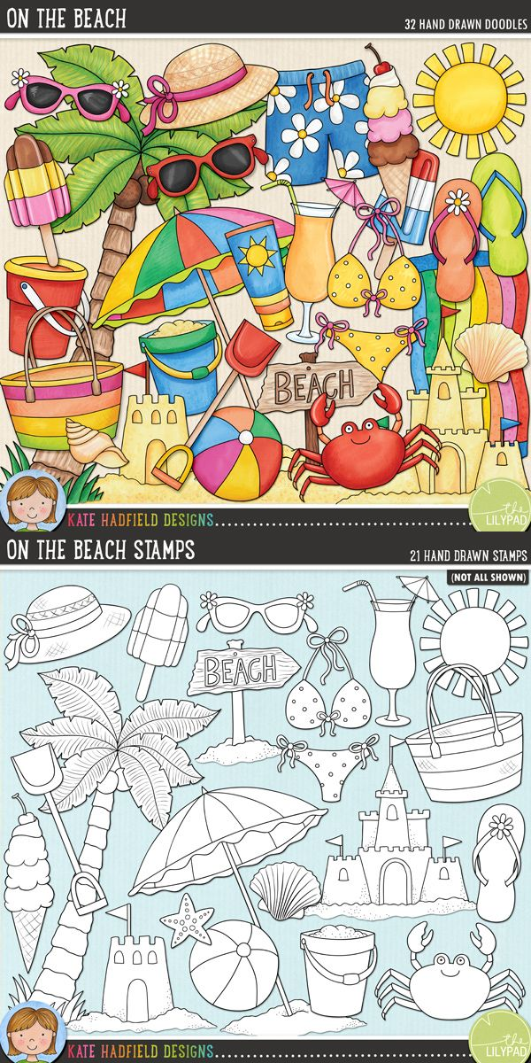 Tropical beach digital scrapbooking elements | Cute summer beach clip art | Hand-drawn illustrations for digital scrapbooking, crafting and teaching resources from Kate Hadfield Designs! Click to see projects created using these illustrations!