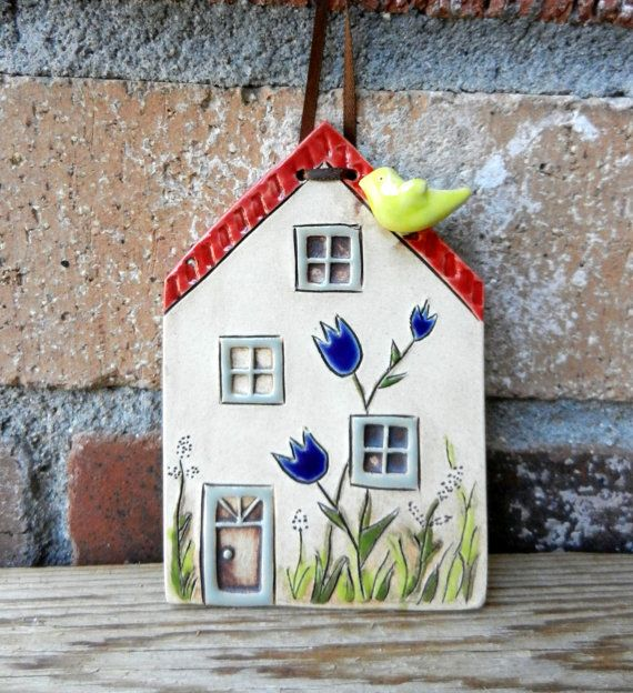 Ceramic Houses Set of 5 with 2 trees, miniature clay tiny house fairy house, pottery house,miniatures, housewarming, small building #potteryideas