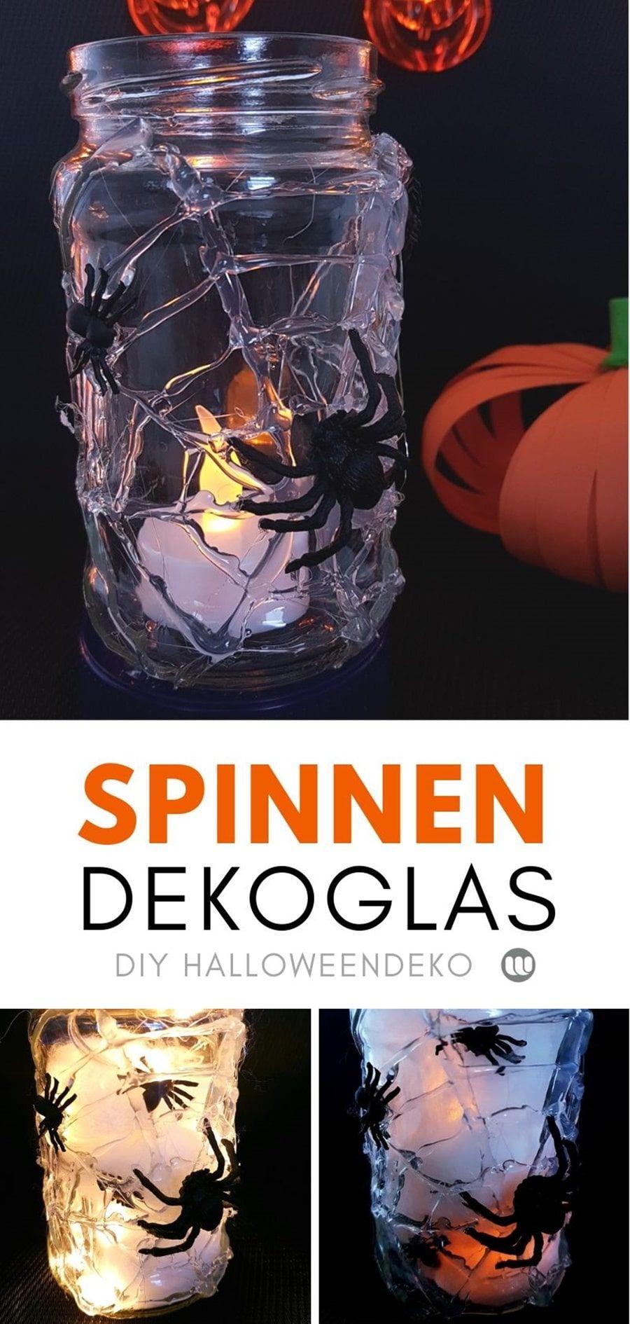 Spinnenglas basteln: Halloween Dekoration für Kinder #spinnennetzbasteln