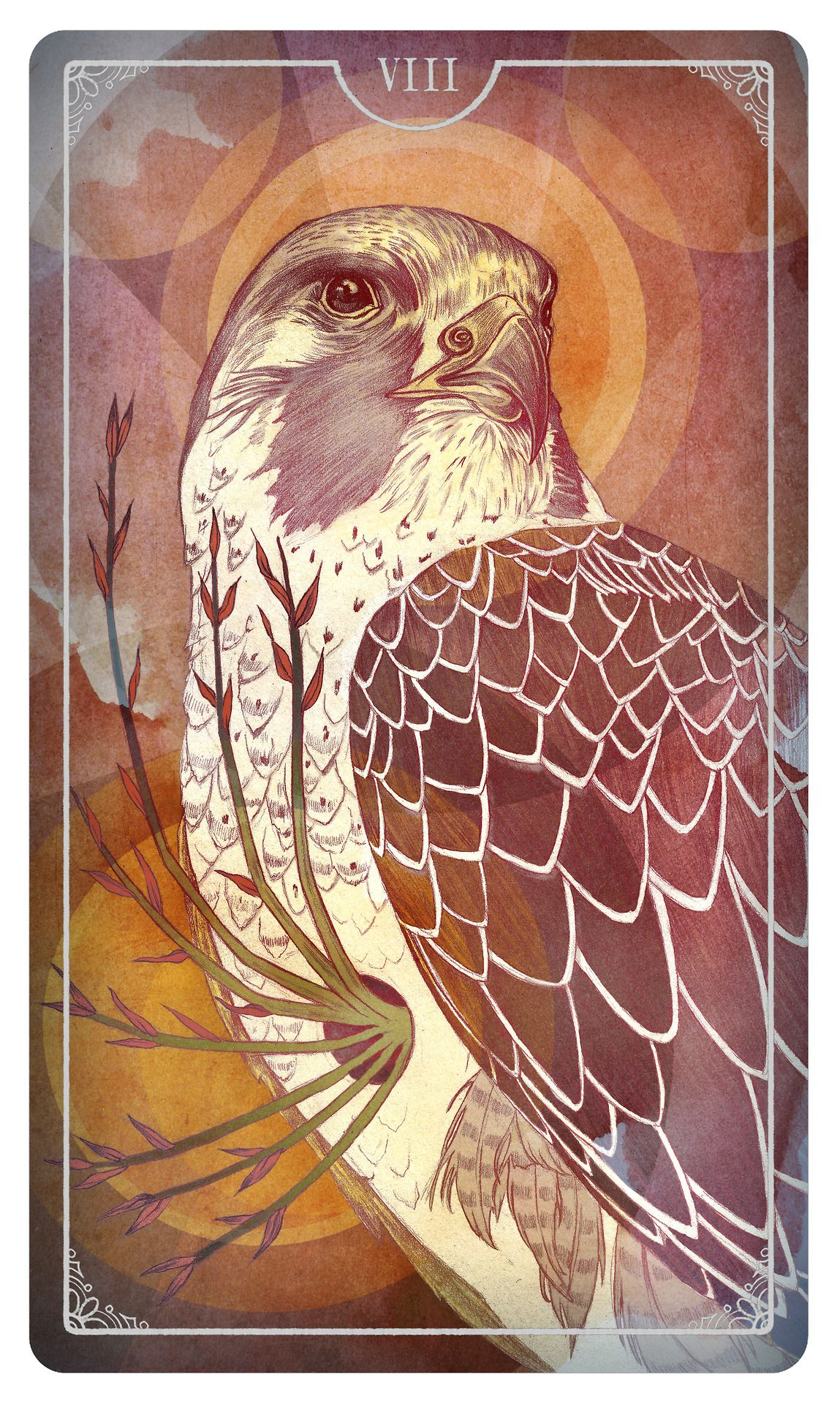 Eight of Wands - Julia Iredale For the upcoming Ostara Tarot Deck - If you love Tarot, visit me at www.WhiteRabbitTarot.com
