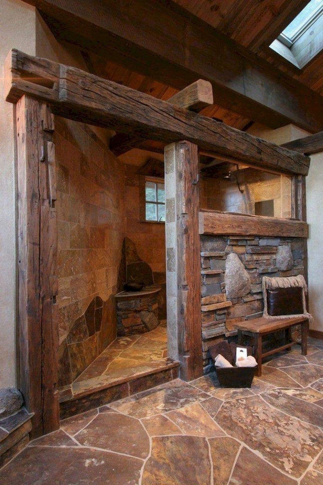 Awesome Farmhouse Bathroom Tile Shower Ideas Remodel (Walk ... on Rustic Farmhouse Bathroom Tile  id=67491