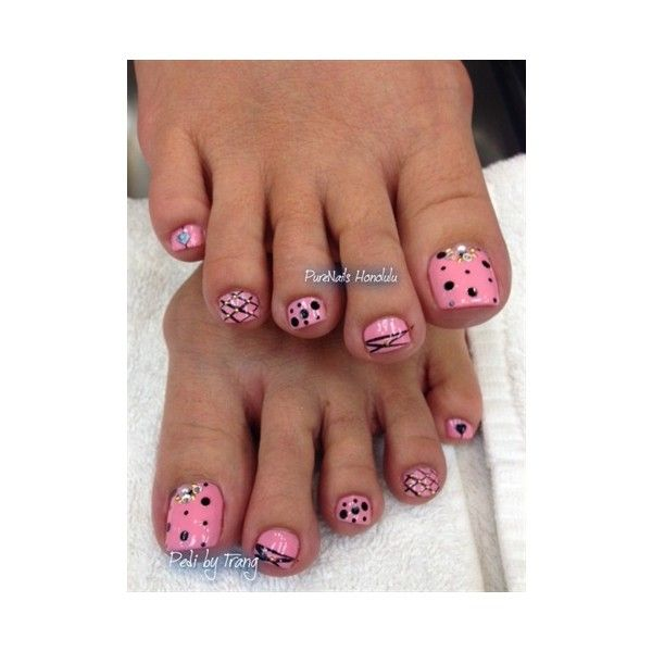 Pink Pedicure Nail Art Gallery ❤ liked on Polyvore featuring nails ...