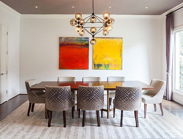 Awesome Dining Room With Yellow And Red Artwork