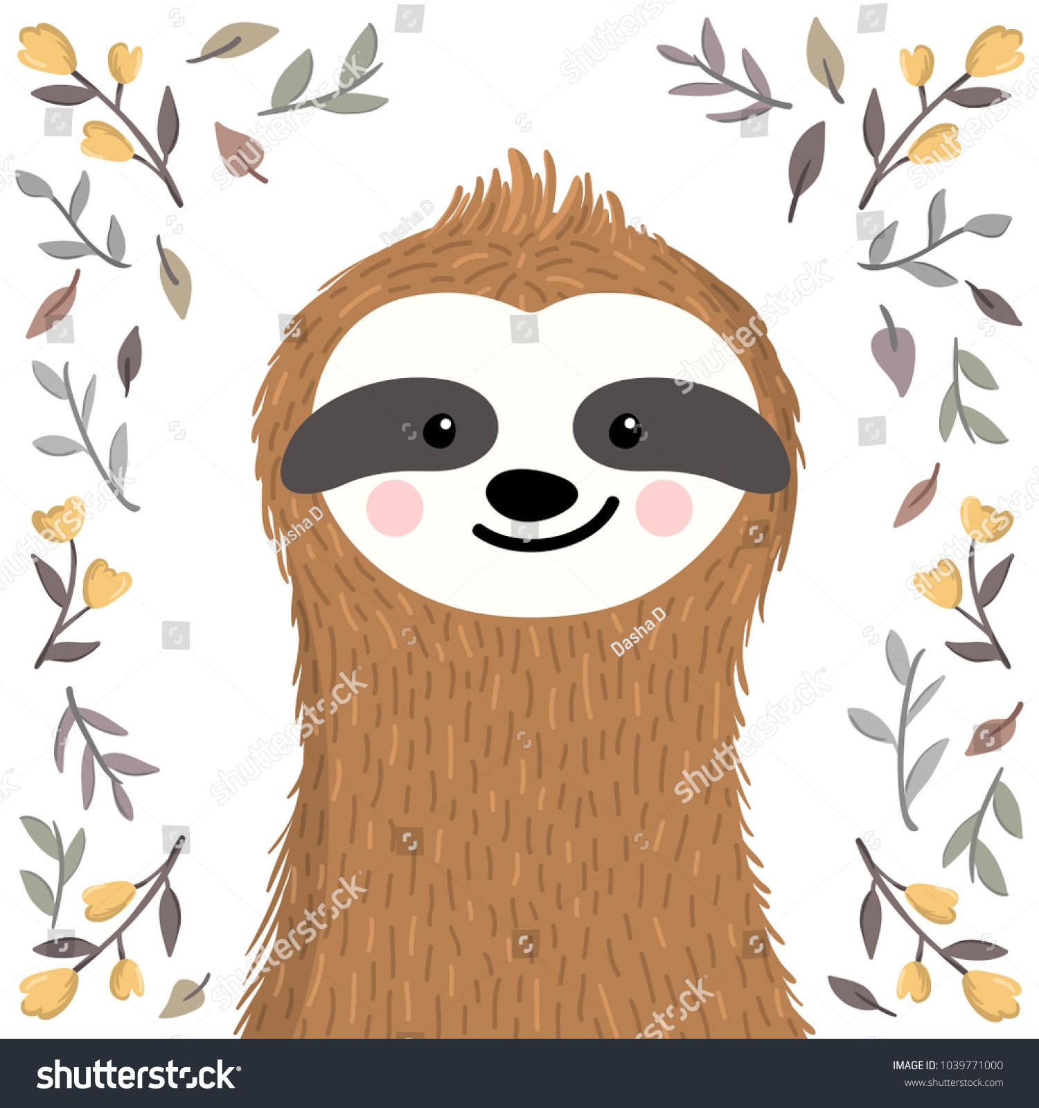 Cute baby sloth among flowers and leaves. Adorable animal