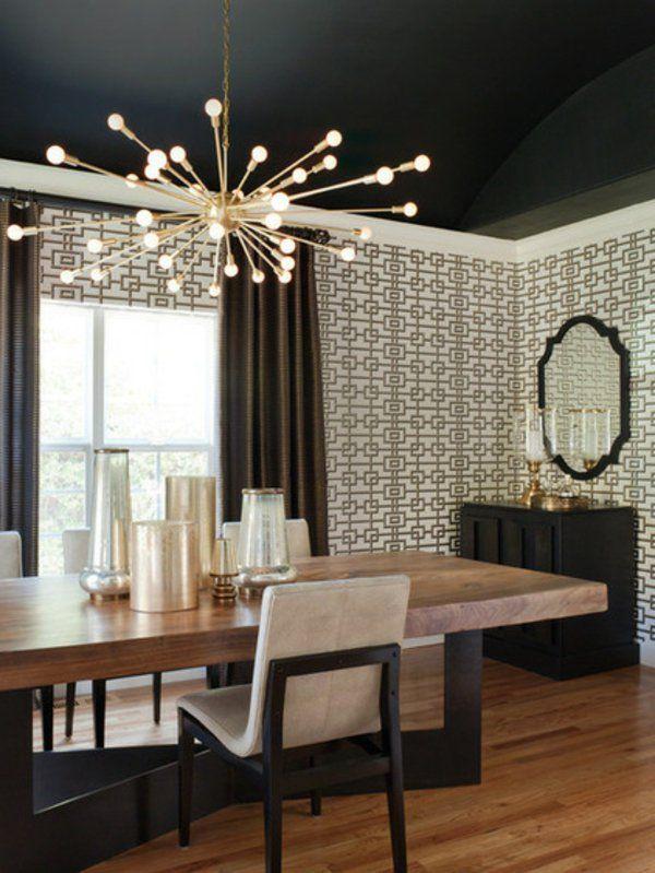 Фото черного потолка на кухне   Дизайн столовой, Столовая ...