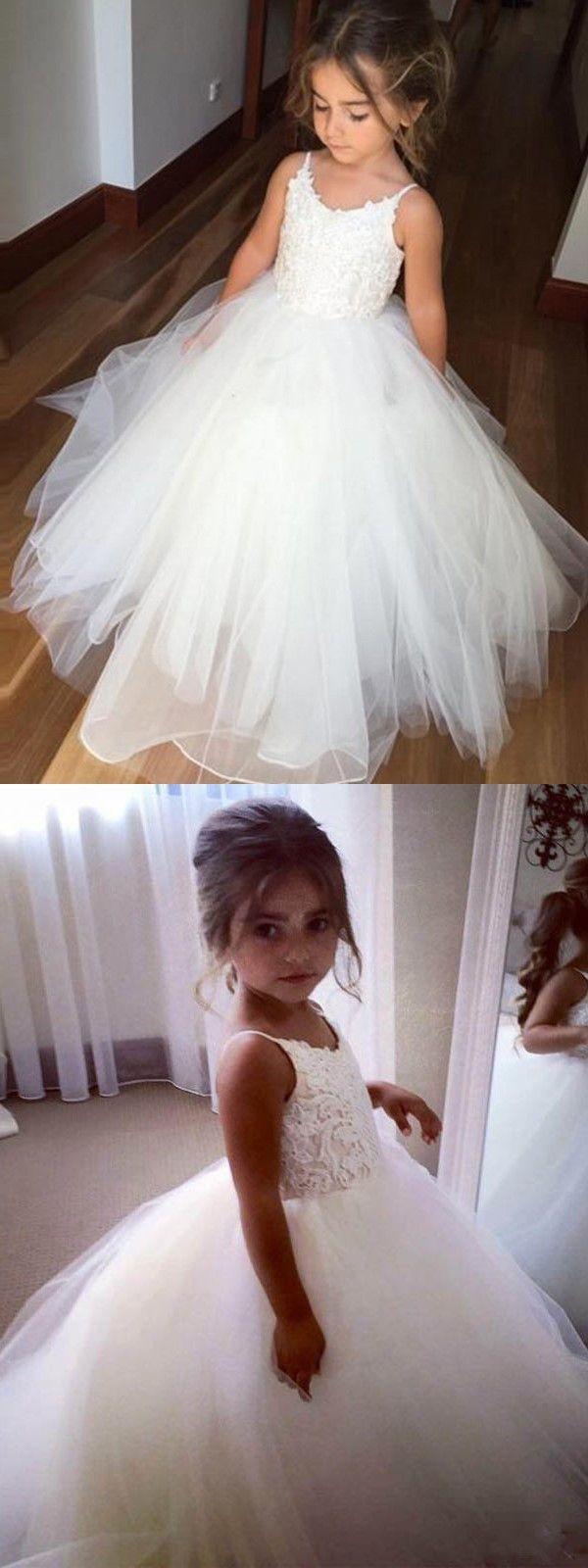 Cute aline straps white long flower girl dress slay prom