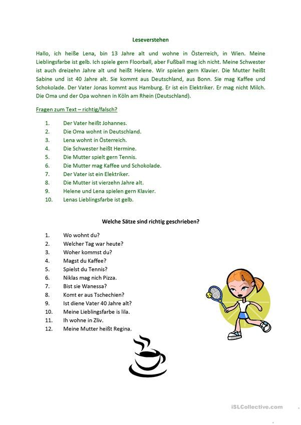 Leseverstehen   Hallo, Kinder, wir lernen Deutsch   Pinterest
