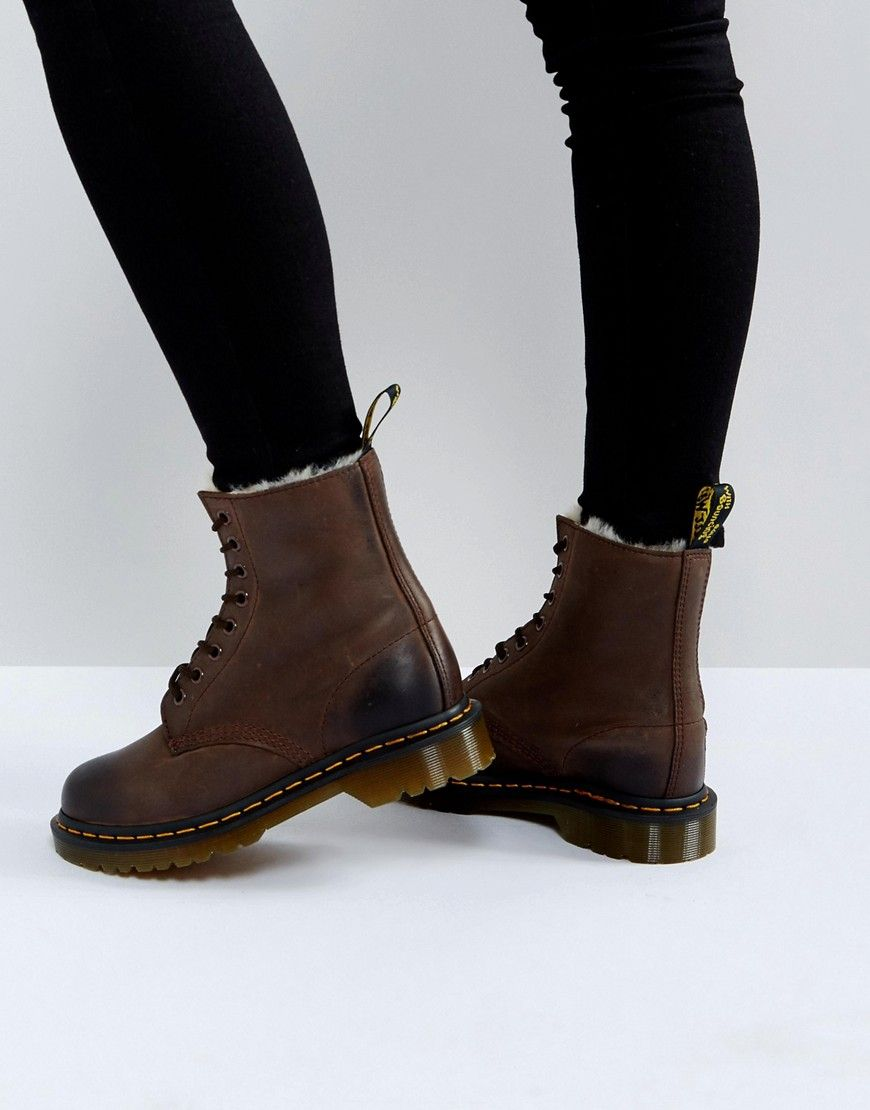 Dr Martens Serena 8 Eye Boots Brown | Boot shoes women, Dr