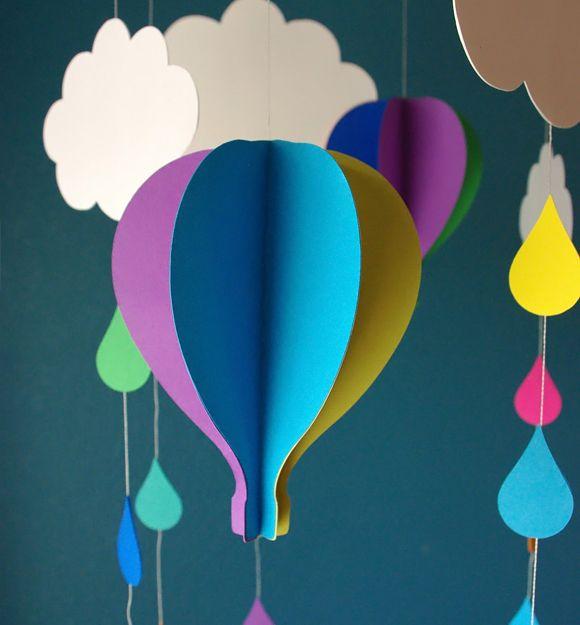 Mobile en papier mobile en papier mobile pour b b et montgolfi re - Montgolfiere en papier ...